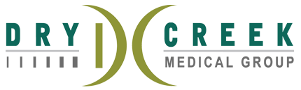 Dry Creek Logo, it features a pair of curved green lines facing away from eachother, a horizontal line passing through the center, and the words dry creek medical center